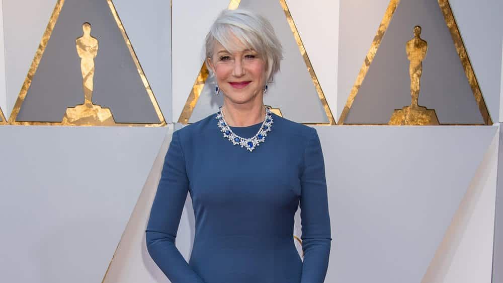 Helen Mirren with a striking short hair style at the Oscars