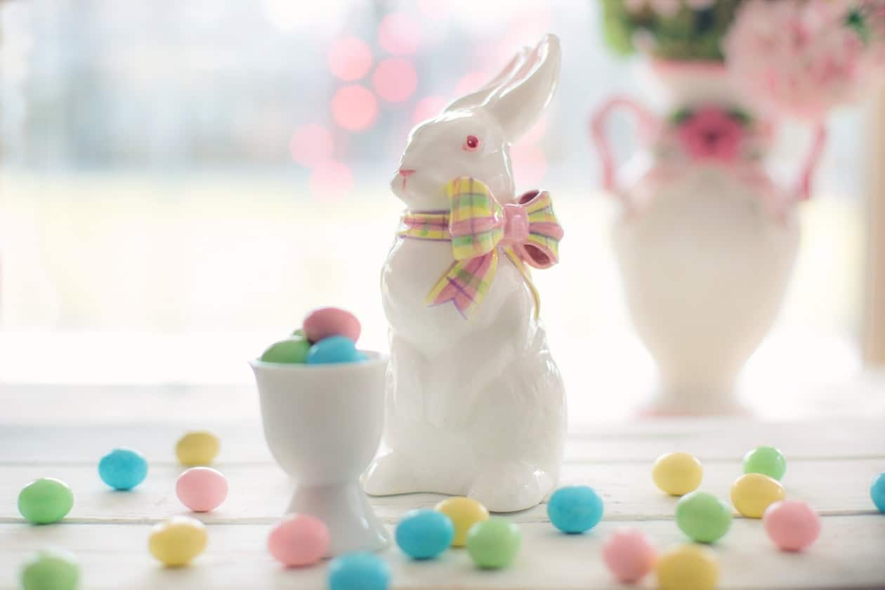 Easter Bunny ornament with bow and multi-coloured eggs